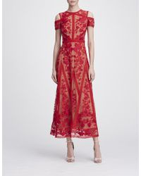9784001fe7175 Lyst - Marchesa notte Embroidered Lace Midi Dress in Pink
