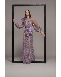 Isabel Sanchis Sheer Illusion Embellished Evening Gown - Multicolor
