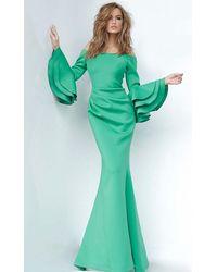 Jovani Bell Sleeve Scuba Green Evening Gown