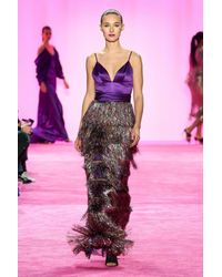 Christian Siriano Mixed Media Fringe Gown - Pink