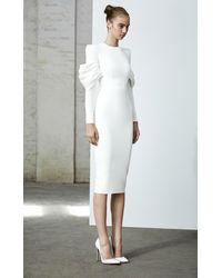 Alex Perry Darcy-satin Crepe Long Sleeve Midi Dress - White