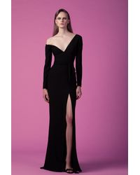 Gemy Maalouf Asymmetrical Crepe Slit Gown - Multicolor