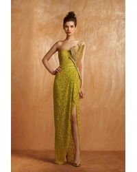 Gemy Maalouf Lime Strapless Sculpted Evening Gown - Multicolor