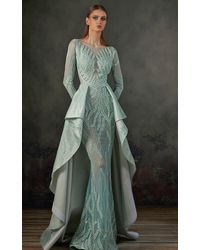 Mnm Couture K3719 Embroidered Long Sleeve Bateau Trumpet Dress - Green