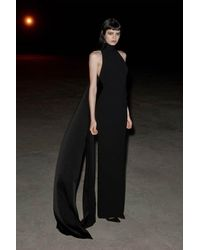 Alex Perry Langley Drape-detailed Crepe Halter Gown - Black