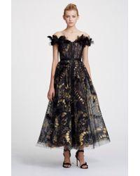Marchesa Couture Off Shoulder Foil Printed Tulle Midi Tea Dress - Black