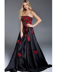 Jovani | Strapless Floral Applique Gown | Lyst