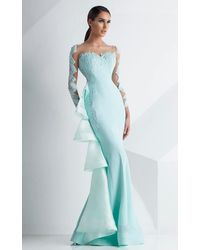Mnm Couture Long Sleeve Mint Gown - Blue