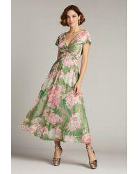 Tadashi Shoji V-neck Floral Print Twist Front Dress - Green