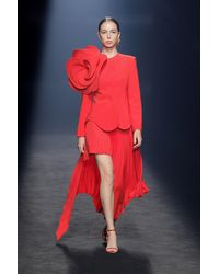 Isabel Sanchis Candelon Long Sleeve Jacket And Skirt - Red