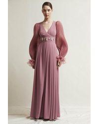 Stefano De Lellis Isabel Long Sleeve Georgette Gown - Multicolor