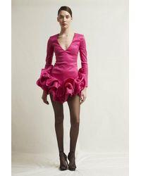 Stefano De Lellis Lucilla Long Sleeve Shantung Dress - Multicolor