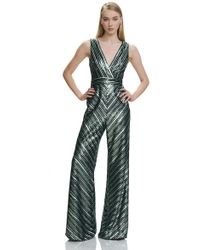 THEIA - Sleeveless V Neck Jumpsuit - Lyst