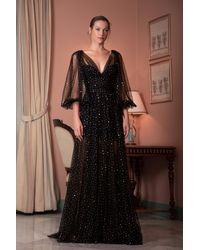 Gemy Maalouf Sequined Tulle V-neck Gown - Black