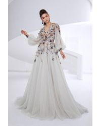 Saiid Kobeisy V-neck Bishop Sleeve Gown - Multicolor