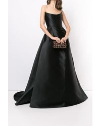 Alex Perry Denver Draped Satin Strapless Gown - Black