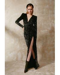 Gemy Maalouf Velvet Sequined Long Sleeve Slit Gown - Multicolor