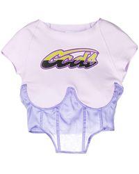 Gcds T-shirt a corsetto Donna - Rosa