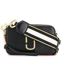 Marc Jacobs Borsa snapshot camera bag small in pelle bicolor con maxi tracolla a righe - Nero