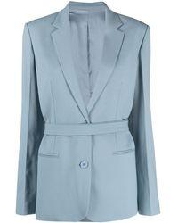 Helmut Lang Blazer monopetto con cintura - Blu