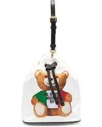 Moschino Borsa a secchiello con stampa Teddy - Bianco