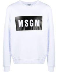 MSGM Felpa Box con stampa - Bianco