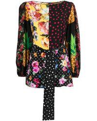 Dolce & Gabbana Blusa maniche lunghe in crêpe de chine patchwork con cintura - Multicolore