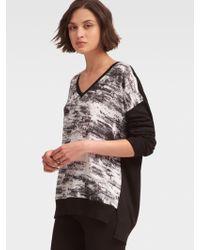 DKNY - Serpentine Print V-neck Pullover - Lyst