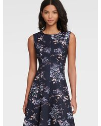 DKNY Sleeveless Floral Fit-and-flare Dress - Blue
