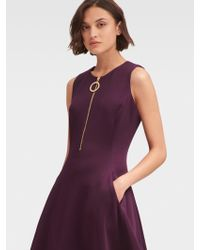 dc084e92b41 DKNY - Fit-and-flare Dress With Front Zipper - Lyst