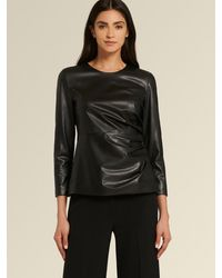 DKNY Donna Karan Faux Leather Top With Side Ruching - Black
