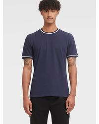 DKNY Polished Pique Tipped Ribbed Tee - Multicolor