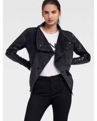 DKNY Denim Waterfall Jacket With Faux Leather Sleeves - Black