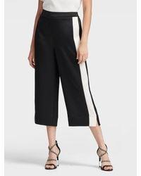 DKNY Cropped Wide-leg Pant With Tuxedo Stripe - Black