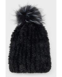 DKNY Faux Fur Pom Pom Beanie - Black