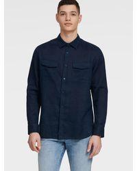 DKNY Long-sleeve Linen Shirt - Blue