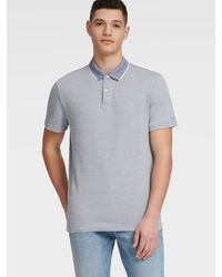 DKNY Pique Polo With Contrast Trim Collar - Blue