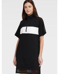 DKNY Short Sleeve Half Zip Dress With Mesh Panels - Black