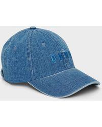 DKNY Tonal Denim Logo Hat - Blue