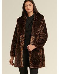 DKNY Donna Karan Leopard Faux Fur Coat - Brown