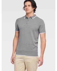 DKNY Solid Sweater Polo - Gray
