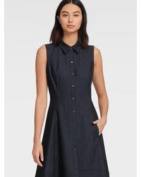 DKNY Sleeveless Denim Shirt Dress - Blue