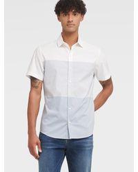 DKNY Colorblock Short Sleeve French Placket Shirt - Blue