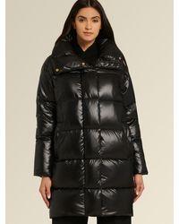 DKNY Donna Karan Snap-button Puffer With Oversized Collar - Black