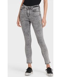 DKNY High Rise Acid Wash Skinny Ankle Jean - Gray