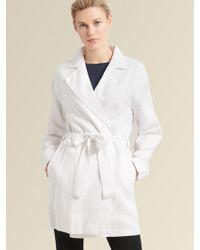 DKNY Linen Trench Coat - White