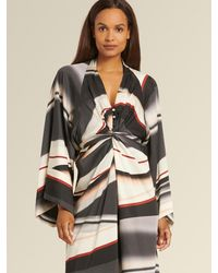 DKNY Donna Karan Printed Dress With Waist Tie - Multicolor