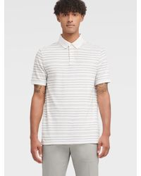 DKNY Pique Striped Polo - White
