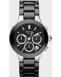 DKNY - Black Ceramic Chronograph Watch - Lyst