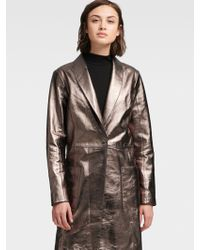 DKNY - Metallic Leather Trench Coat - Lyst